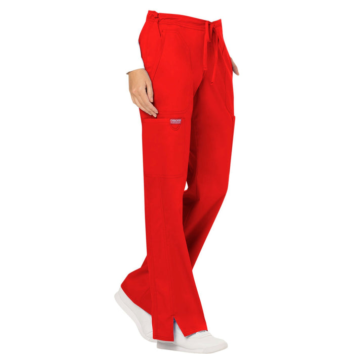 Cherokee Workwear Revolution WW120 Scrubs Pants Women's Mid Rise Moderate Flare Drawstring Red 5XL