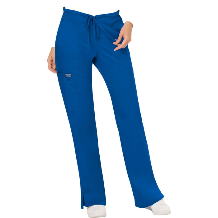 Cherokee Workwear Revolution WW120 Scrubs Pants Women's Mid Rise Flare Drawstring Royal