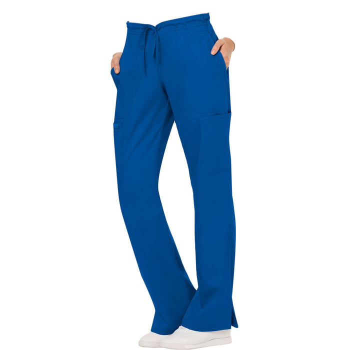 Cherokee Workwear Revolution WW120 Scrubs Pants Women's Mid Rise Moderate Flare Drawstring Royal 4XL