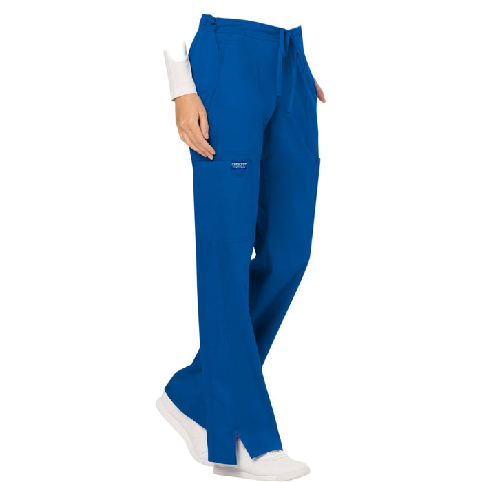 Cherokee Workwear Revolution WW120 Scrubs Pants Women's Mid Rise Moderate Flare Drawstring Royal 5XL