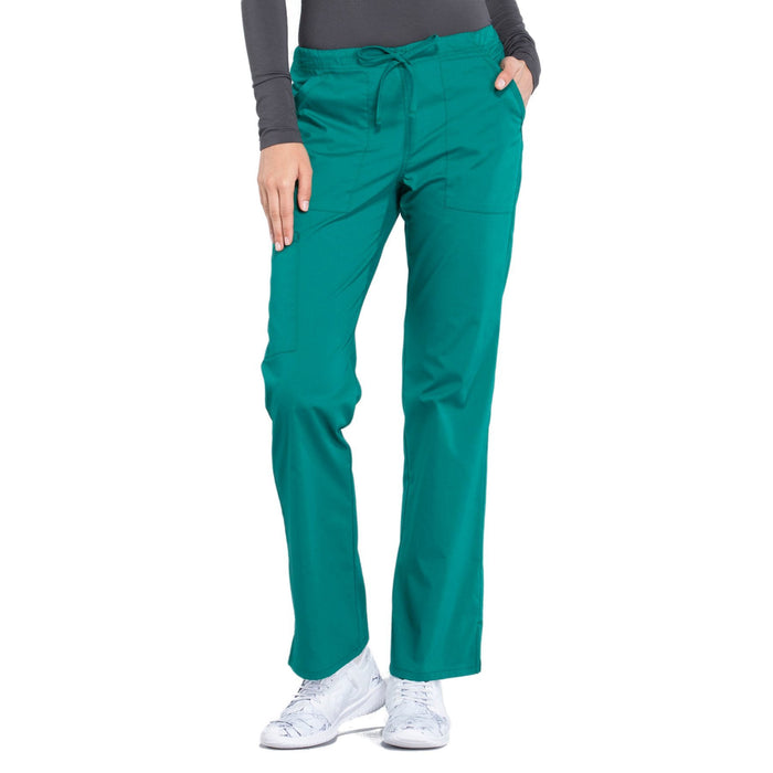 Cherokee Workwear Professionals WW160 Scrubs Pants Women's Mid Rise Straight Leg Drawstring Hunter Green