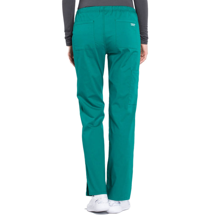 Cherokee Workwear Professionals WW160 Scrubs Pants Women's Mid Rise Straight Leg Drawstring Hunter Green 3XL