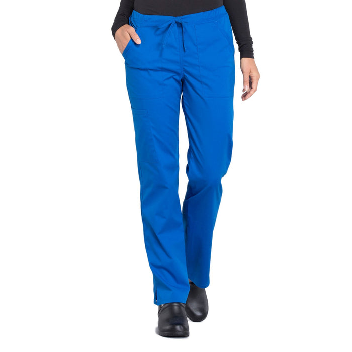 Cherokee Workwear Professionals WW160 Scrubs Pants Women's Mid Rise Straight Leg Drawstring Royal
