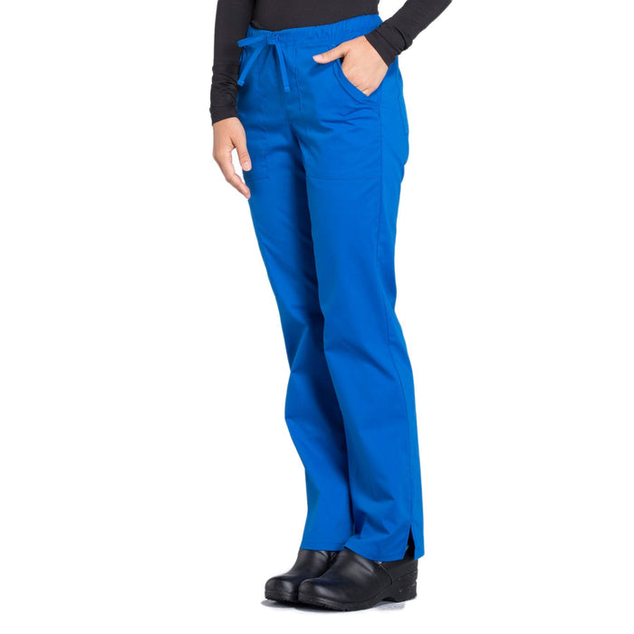 Cherokee Workwear Professionals WW160 Scrubs Pants Women's Mid Rise Straight Leg Drawstring Royal 4XL