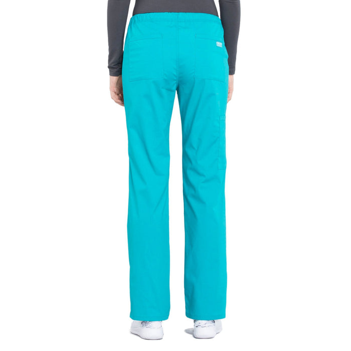 Cherokee Workwear Professionals WW160 Scrubs Pants Women's Mid Rise Straight Leg Drawstring Teal Blue 3XL