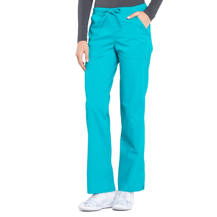 Cherokee Workwear Professionals WW160 Scrubs Pants Women's Mid Rise Straight Leg Drawstring Teal Blue 4XL