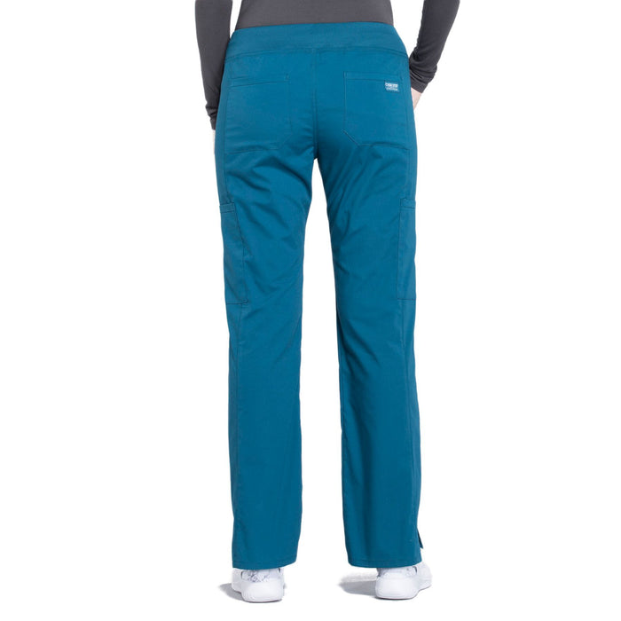 Cherokee Workwear Professionals WW170 Scrubs Pants Women's Mid Rise Straight Leg Pull-on Cargo Caribbean Blue 3XL