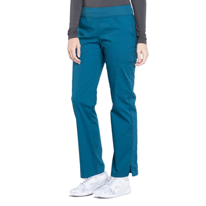 Cherokee Workwear Professionals WW170 Scrubs Pants Women's Mid Rise Straight Leg Pull-on Cargo Caribbean Blue 4XL