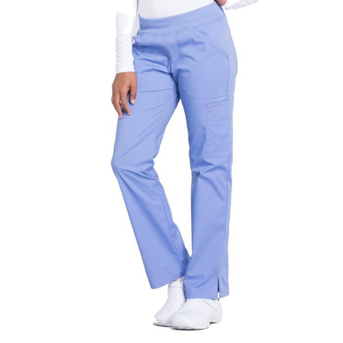 Cherokee Workwear Professionals WW170 Scrubs Pants Women's Mid Rise Straight Leg Pull-on Cargo Ciel Blue 4XL