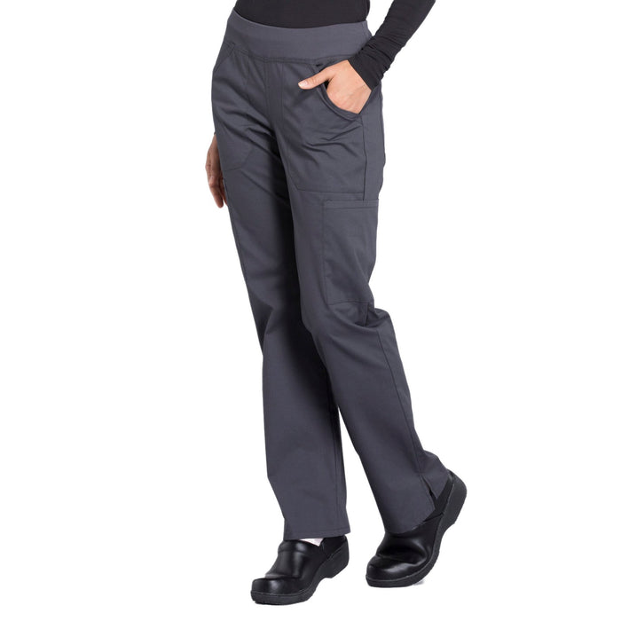 Cherokee Workwear Professionals WW170 Scrubs Pants Women's Mid Rise Straight Leg Pull-on Cargo Pewter 4XL