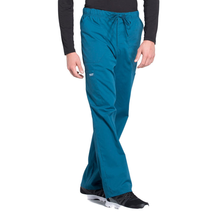 Cherokee Workwear Professionals WW190 Scrubs Pants Men's Tapered Leg Drawstring Cargo Caribbean Blue 5XL