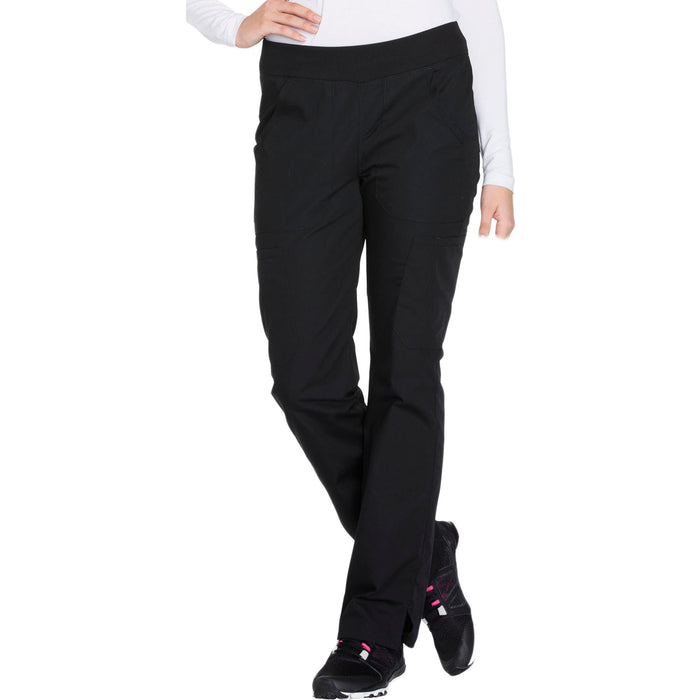 Cherokee Workwear WW210 Scrubs Pants Women's Mid Rise Straight Leg Pull-on Cargo Black