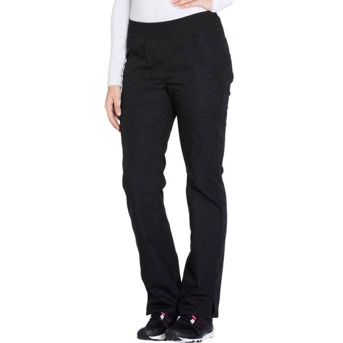Cherokee Workwear WW210 Scrubs Pants Women's Mid Rise Straight Leg Pull-on Cargo Black 4XL