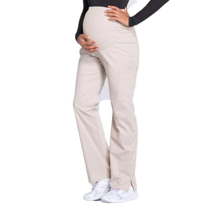Cherokee Workwear Professionals WW220 Scrubs Pants Maternity Straight Leg Khaki L