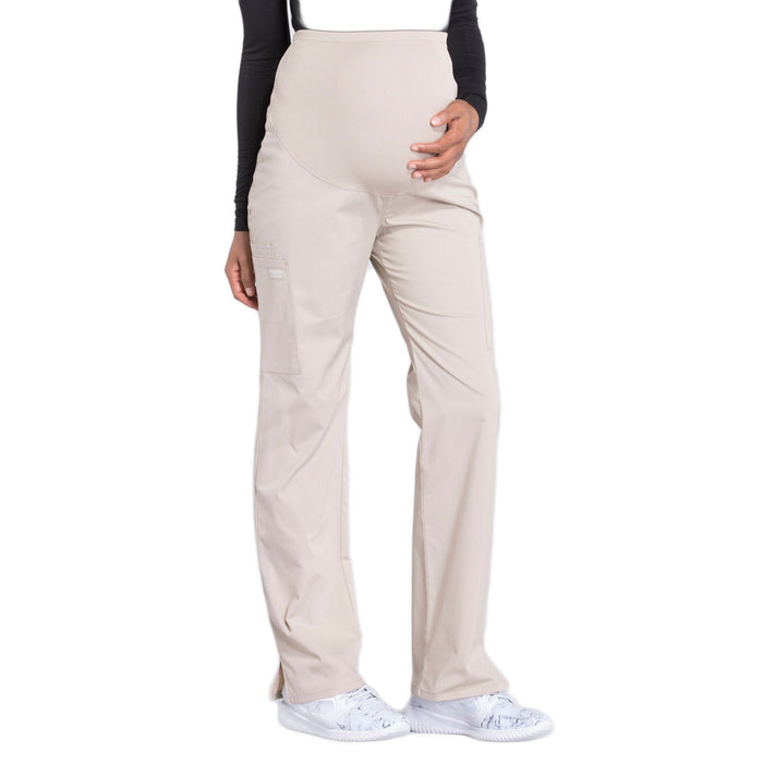 Cherokee Workwear Professionals WW220 Scrubs Pants Maternity Straight Leg Khaki M
