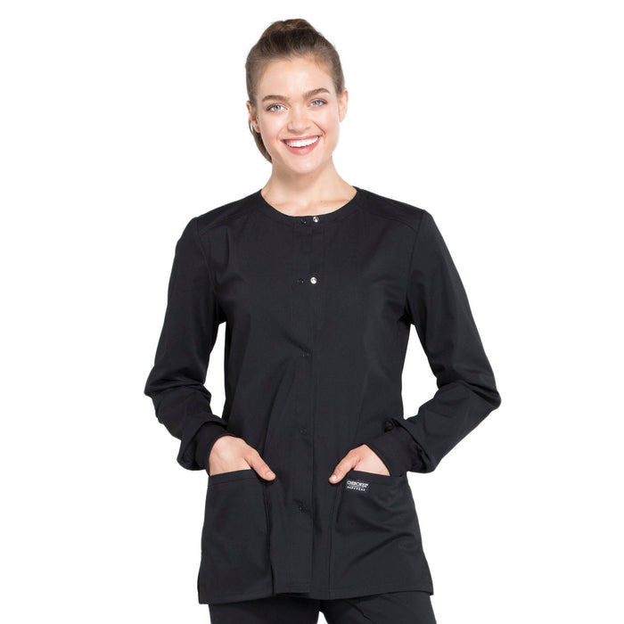 Cherokee Workwear Professionals WW340 Scrubs Jacket Women's Snap Front Warm-up Black