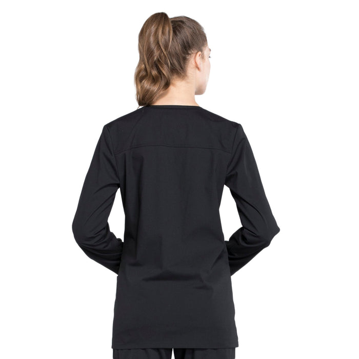 Cherokee Workwear Professionals WW340 Scrubs Jacket Women's Snap Front Warm-up Black 3XL