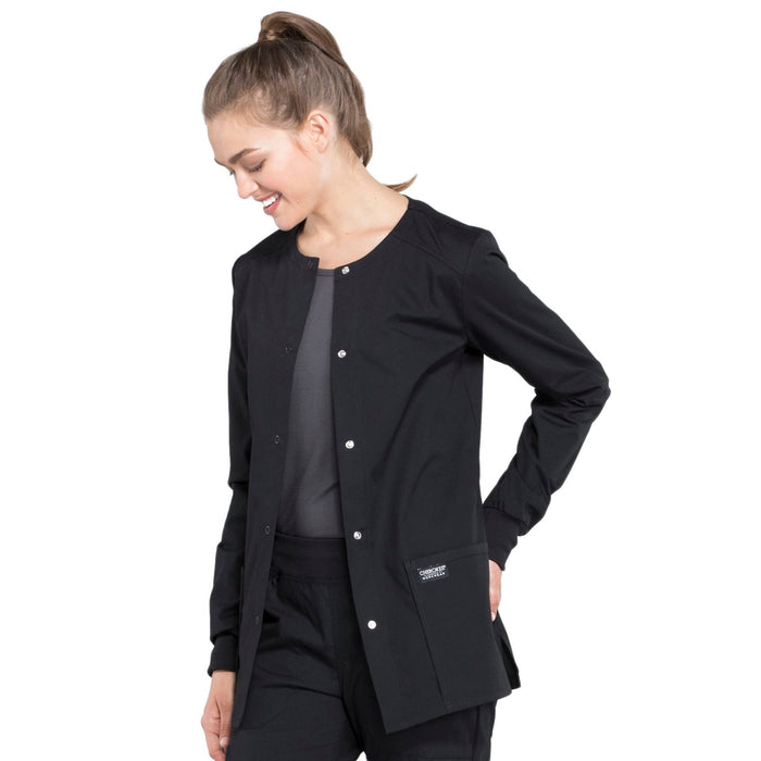 Cherokee Workwear Professionals WW340 Scrubs Jacket Women's Snap Front Warm-up Black 4XL
