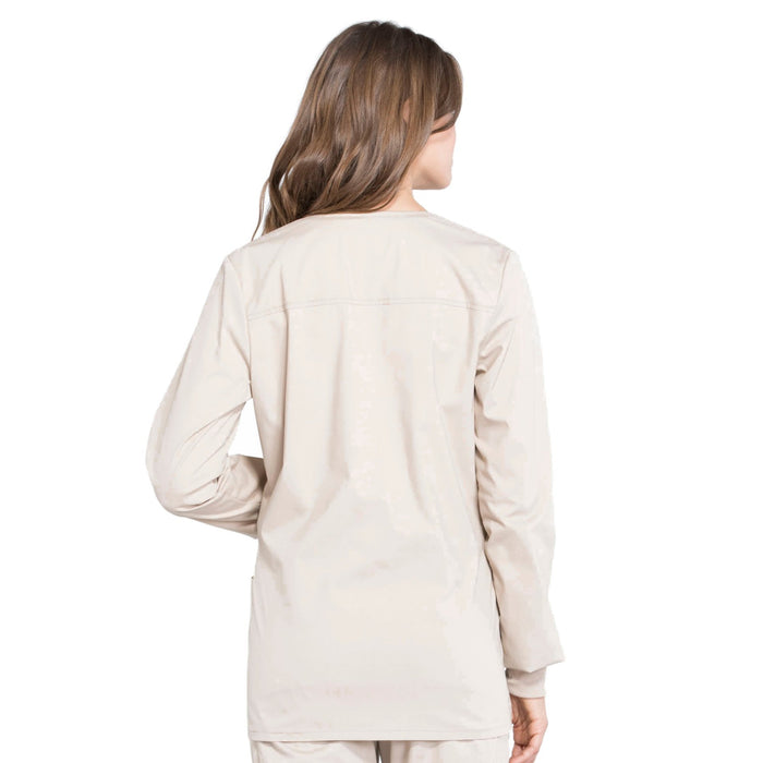 Cherokee Workwear Professionals WW340 Scrubs Jacket Women's Snap Front Warm-up Khaki 3XL