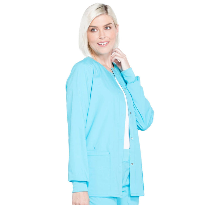 Cherokee Workwear Professionals WW340 Scrubs Jacket Women's Snap Front Warm-up Turquoise 5XL