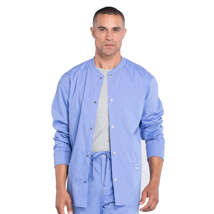 Cherokee Workwear Professionals WW360 Scrubs Jacket Men's Warm-up Ceil Blue