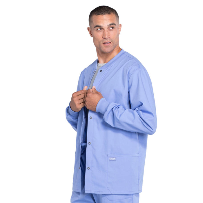 Cherokee Workwear Professionals WW360 Scrubs Jacket Men's Warm-up Ciel Blue 4XL