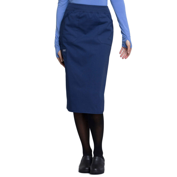 "Cherokee Workwear Professionals WW510 Skirt Women's 30"" Knit Waistband Skirt Navy"