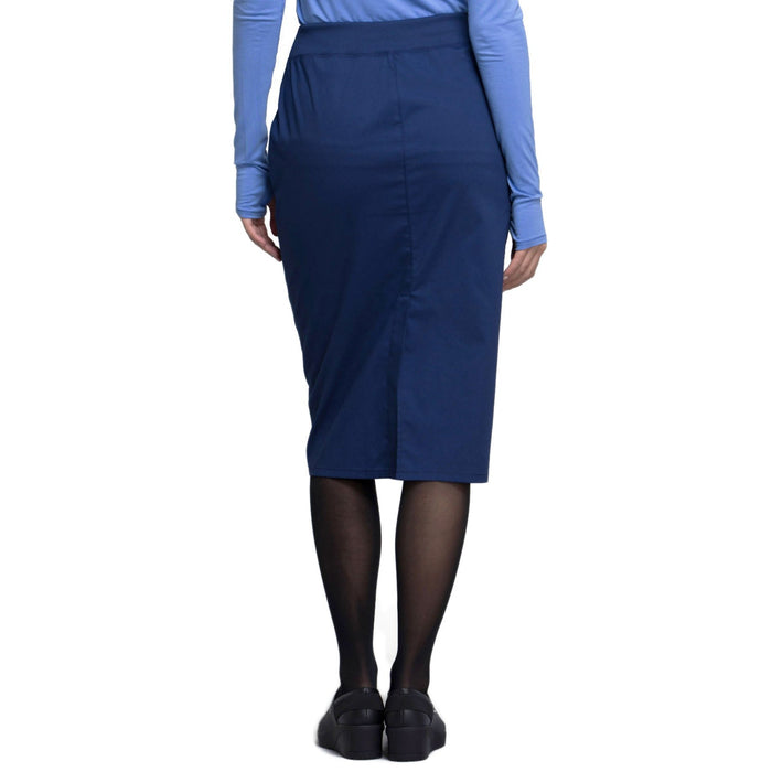 "Cherokee Workwear Professionals WW510 Skirt Women's 30"" Knit Waistband Skirt Navy 3XL"