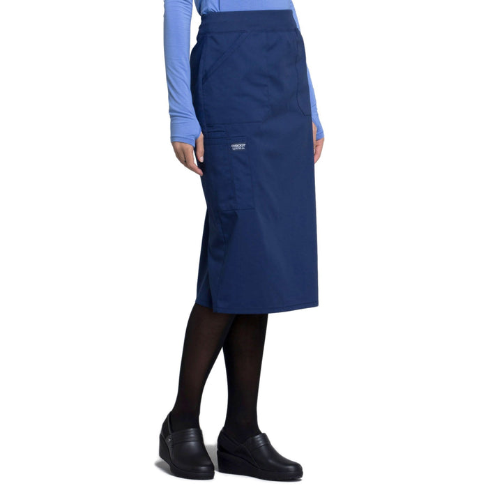 "Cherokee Workwear Professionals WW510 Skirt Women's 30"" Knit Waistband Skirt Navy 5XL"