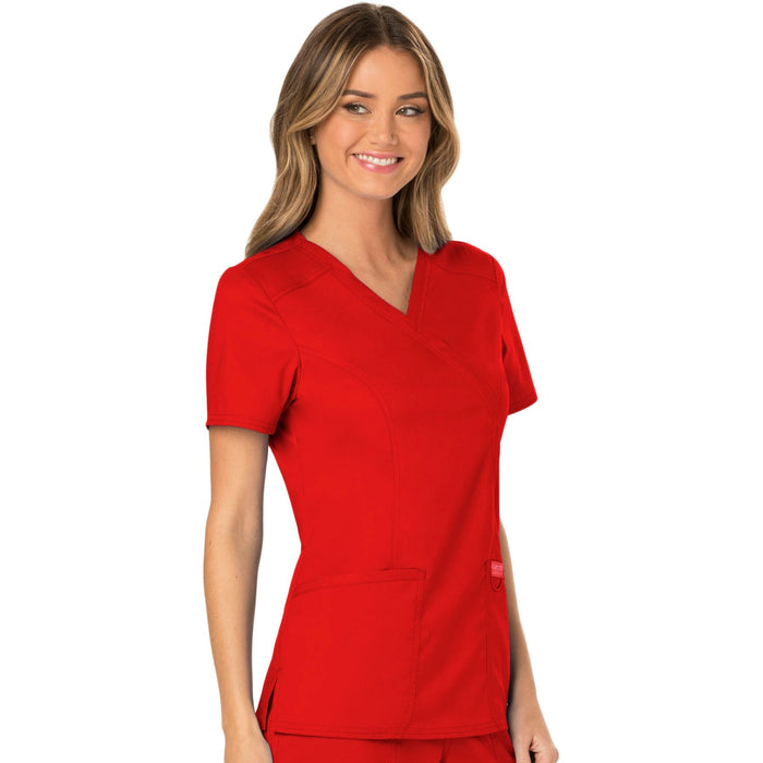Cherokee Workwear Revolution WW610 Scrubs Top Women's Mock Wrap Red 5XL