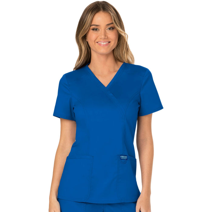Cherokee Workwear Revolution WW610 Scrubs Top Women's Mock Wrap Royal