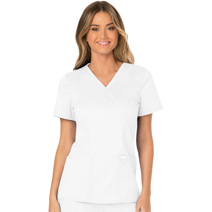 Cherokee Workwear Revolution WW610 Scrubs Top Women's Mock Wrap White
