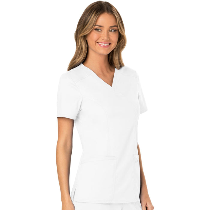 Cherokee Workwear Revolution WW610 Scrubs Top Women's Mock Wrap White 5XL