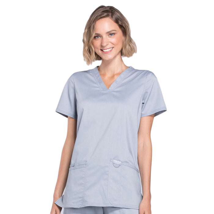 Cherokee Workwear Revolution WW620 Scrubs Top Women's V-Neck Grey
