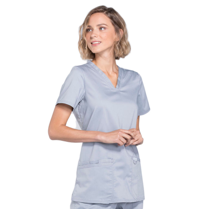 Cherokee Workwear Revolution WW620 Scrubs Top Women's V-Neck Grey 5XL