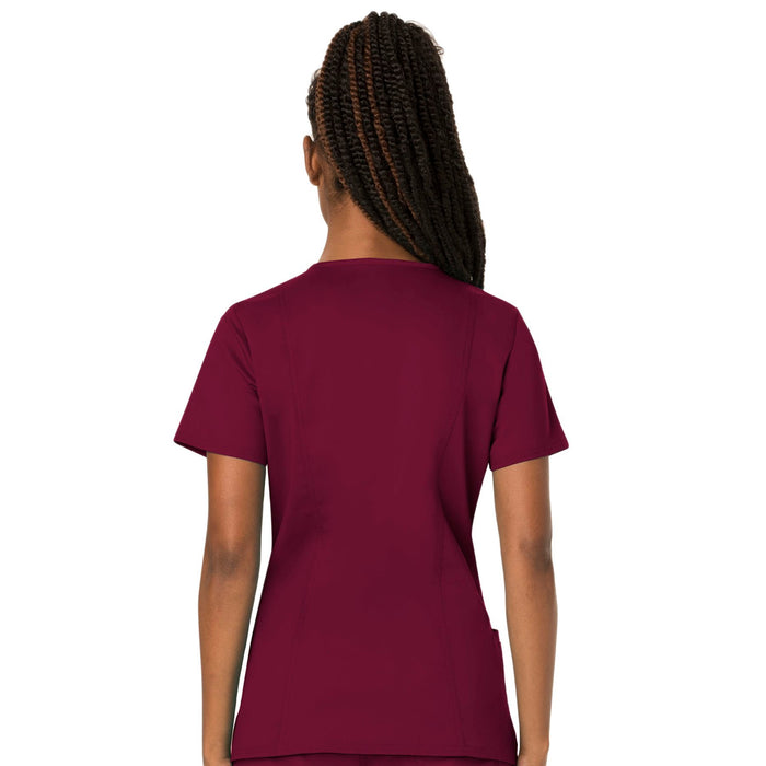 Cherokee Workwear Revolution WW620 Scrubs Top Women's V-Neck Wine 3XL