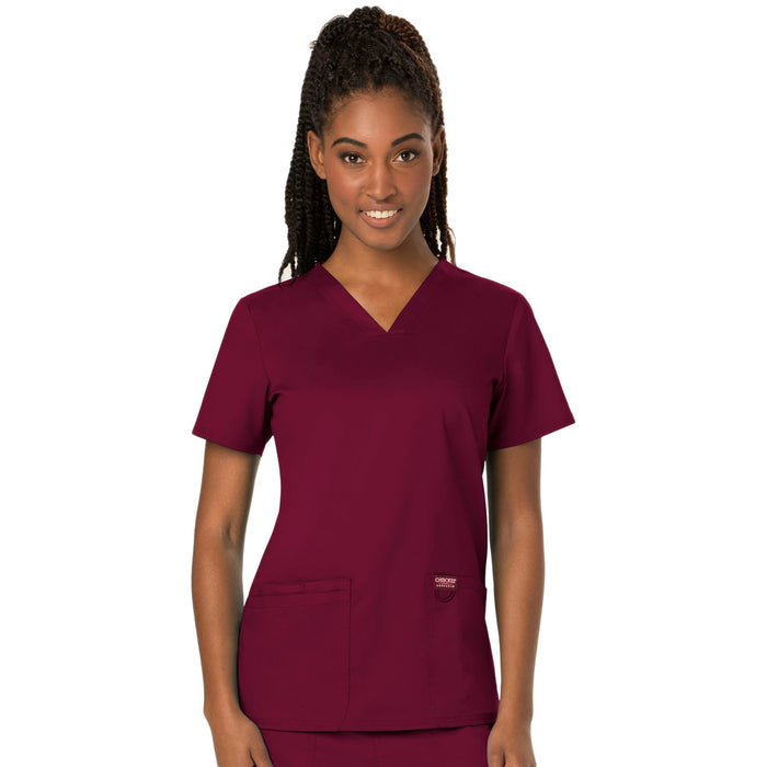Cherokee Workwear Revolution WW620 Scrubs Top Women's V-Neck Wine
