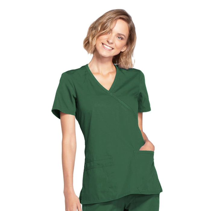 Cherokee Workwear WW650 Scrubs Top Women's Mock Wrap Hunter Green