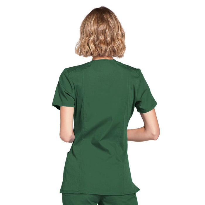 Cherokee Workwear WW650 Scrubs Top Women's Mock Wrap Hunter Green 3XL