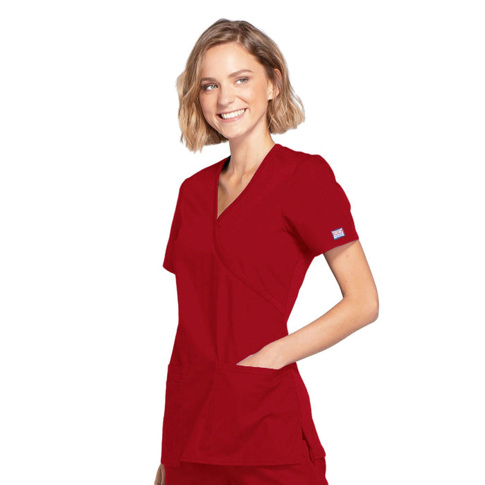 Cherokee Workwear WW650 Scrubs Top Women's Mock Wrap Red 4XL