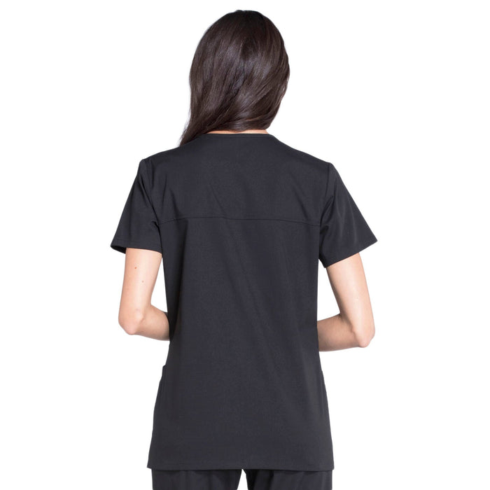Cherokee Workwear Professionals WW655 Scrubs Top Women's Mock Wrap Black 3XL
