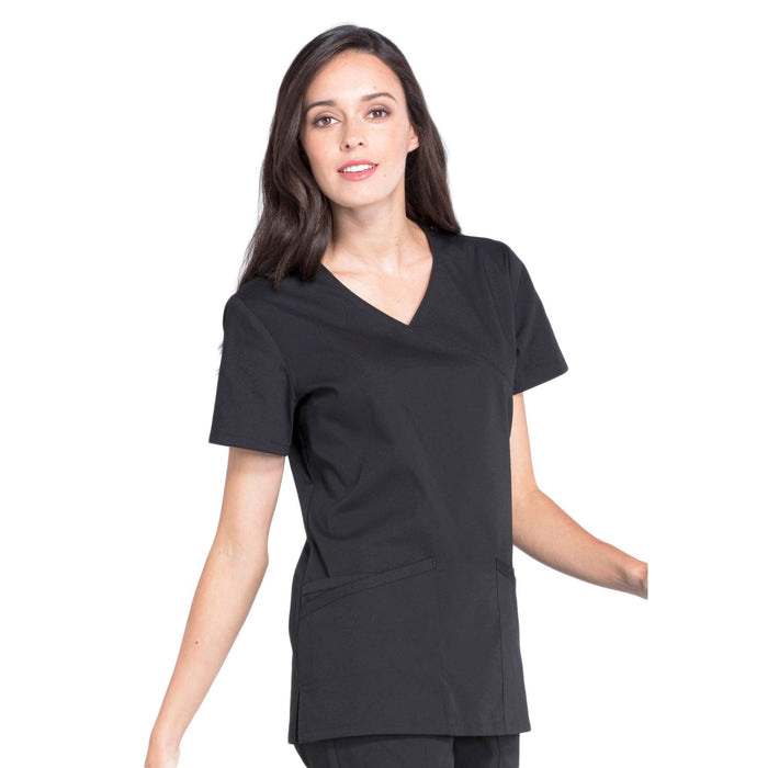 Cherokee Workwear Professionals WW655 Scrubs Top Women's Mock Wrap Black 5XL