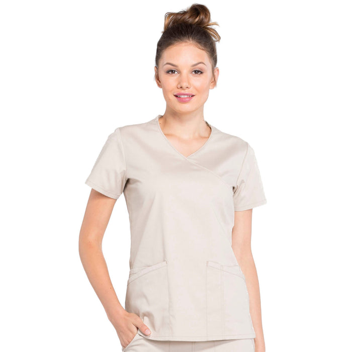 Cherokee Workwear Professionals WW655 Scrubs Top Women's Mock Wrap Khaki