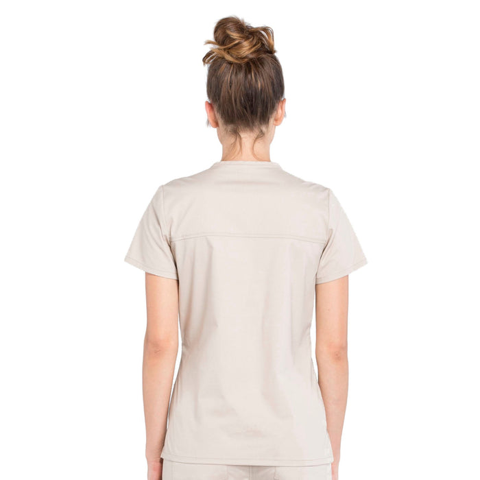 Cherokee Workwear Professionals WW655 Scrubs Top Women's Mock Wrap Khaki 3XL