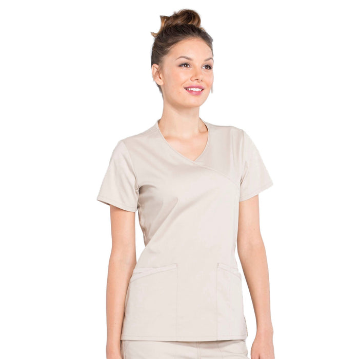 Cherokee Workwear Professionals WW655 Scrubs Top Women's Mock Wrap Khaki 5XL