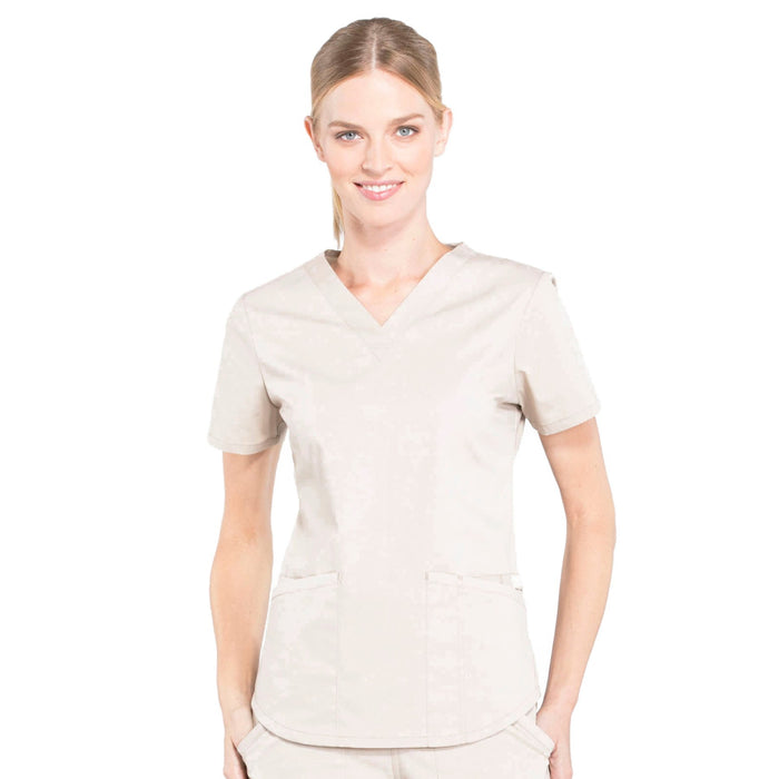 Cherokee Workwear Professionals WW665 Scrubs Top Women's V-Neck Khaki