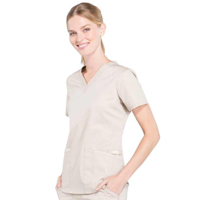 Cherokee Workwear Professionals WW665 Scrubs Top Women's V-Neck Khaki 4XL