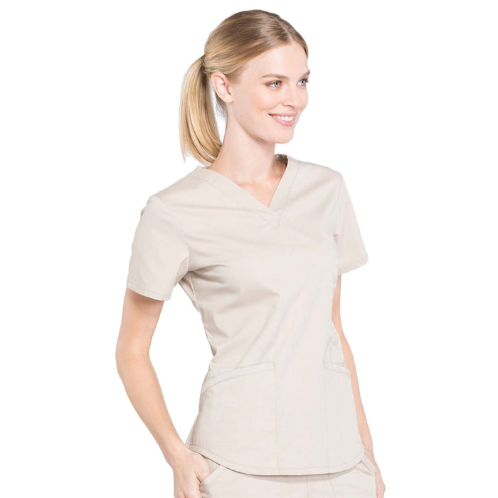 Cherokee Workwear Professionals WW665 Scrubs Top Women's V-Neck Khaki 5XL