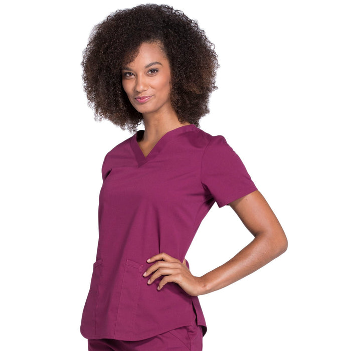 Cherokee Workwear Professionals WW665 Scrubs Top Women's V-Neck Wine 4XL