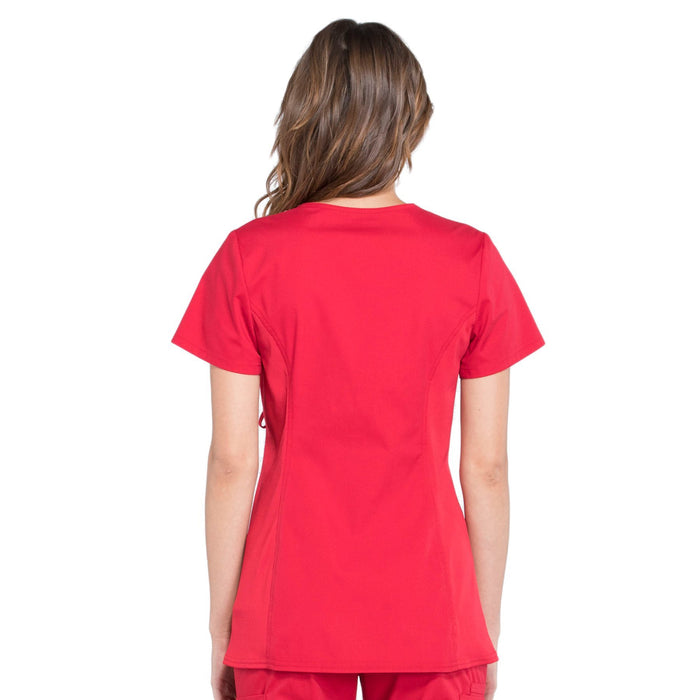 Cherokee Workwear Professionals WW685 Scrubs Top Maternity Mock Wrap Red 3XL